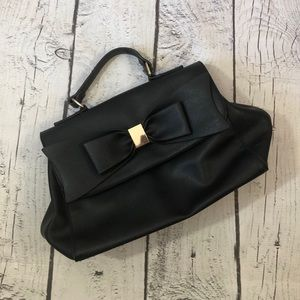 Faux leather bow bag
